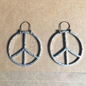 Lucky brand boho hippie peace sign hoop earrings
